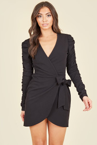 Black Crepe Ruched Sleeve Wrap Mini Bodycon Dress
