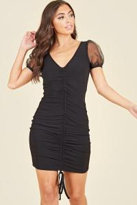 Black Ruched Drawstring Front Organza Sheer Sleeve V-Neck Mini Dress