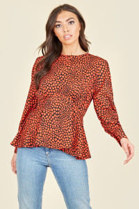 Black Red Heart Long Sleeve Peplum Hem Top