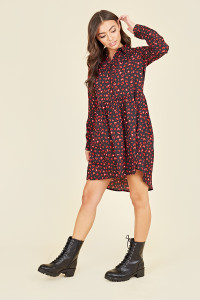 Black and Red Heart Print Dipped Hem Shirt Dress