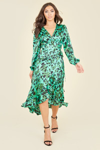 Green Satin Animal Print Ruffle Hem Wrap Midi Dress
