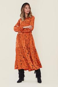 Orange Horse Sketch Tiered Maxi Tea Dress