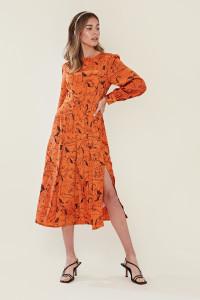 Orange Sketch Horse Midi Dress