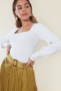 White Square Neck Knitted Top