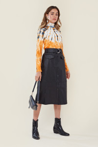 Black Faux Leather Belted Pencil Skirt