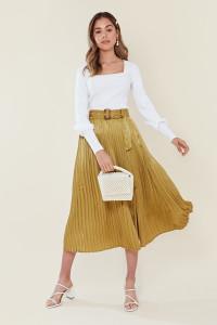 Olive Satin Belted Pleat Midi Skirt