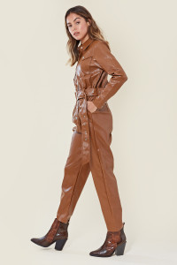 Toffee Faux Leather Belted Boilersuit