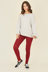 Jersey leggings in Wine