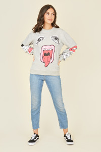 Grey Graphic Tongue Print Sweatshirt