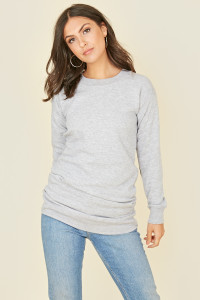 Grey Oversized Crew Neck Long Sleeve Jumper Dress