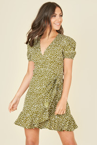 Green and White Splodge Dot Print Wrap Frill Hem Mini Dress