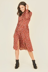 Rust Scattered Spot Midi Shirt Dress With Pleated Skirt and Splits