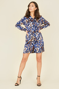 Navy Abstract Animal Print Belted Mini Shirt Dress