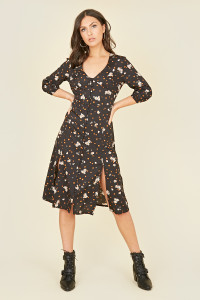Black Spot Floral Button Through Midi Tea Dress with Front Splits