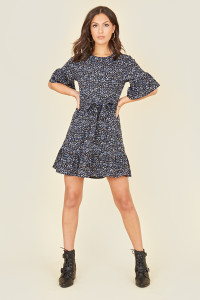 Black Blue Ditsy Floral Ruffle Hem Waist Belted Mini Dress
