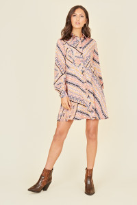 Multi Scarf Print Long Sleeve Mini Shirt Dress