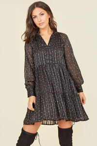 Black Yellow Spot Georgette Long Sleeve Tiered Mini Smock Dress