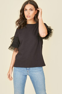 Black Jersey Sweat Top with Ruffle Mesh Sleeve