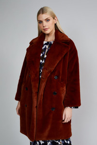Native Youth Rust Soft Faux Fur Coat
