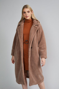 Native Youth Mink Double Breasted Faux Fur Sherpa Coat