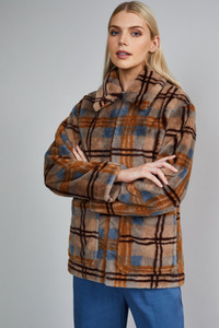 Native Youth Beige Check Faux Fur Jacket Coat