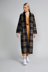 Native Youth Check Reversible Oversized Coat
