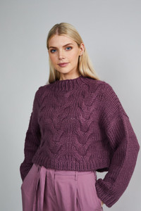 Native Youth Dusty Purple Soft Hand Chunky Knitted Wool Jumper