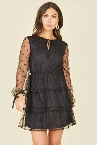 Black Spot Mesh Ruffle Skirt Long Sleeve Mini Dress