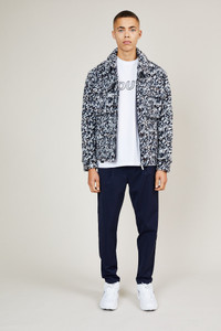 Native Youth White and Navy Textured Wool Blend Jacket
