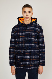 Native Youth Navy Check Duffel Coat