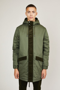 Native Youth Green Hooded Padded Parka Coat