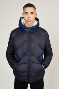 Native Youth Navy Sherpa Hooded Puffer Jacket