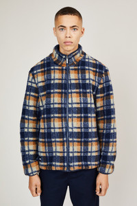 Native Youth Navy Beige Check Sherpa Jacket