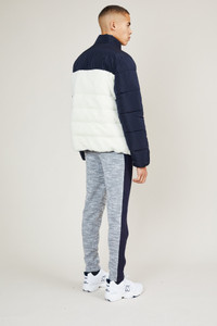 Native Youth Navy Contrast Sherpa Puffer Jacket