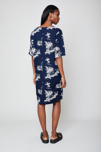 Native Youth Navy Tropical Print Dress