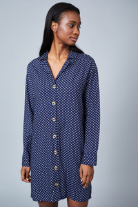 Native Youth Navy Print Revere Collar Mini Dress