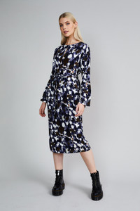 Native Youth Navy Panthera Print Midi Dress