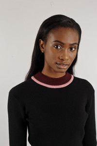 Native Youth Black High Neck Ribbed Crop Knit