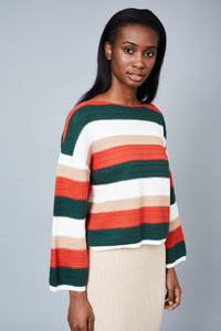 Native Youth Multi Stripe Crochet Knitted Boxy Top