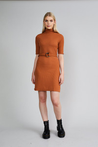 Native Youth Rust Roll Neck Slim Fit Mini Dress