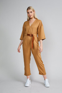 Native Youth Camel Wide Sleeve Utility Jumpsuit
