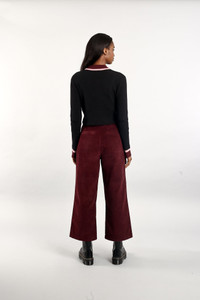 Native Youth Wine Corduroy Wide Leg Pant