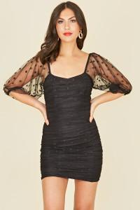 Black Spot Mesh Ruched Puff Sleeve Mini Dress