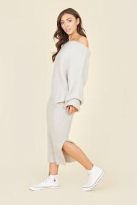 Grey Ribbed Side Split Midi Skirt
