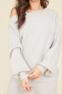 Grey Slouchy Off Shoulder Knitted Jumper
