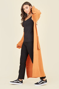 Orange Knitted Longline Belted Cardigan with Tortoise Shell Buckle