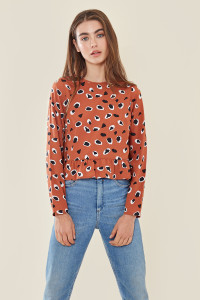 Rust Abstract Animal Spot Print Top