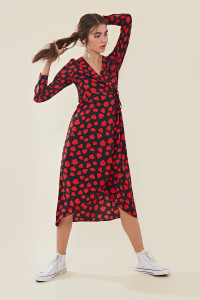 Red Black Heart Print Wrap Midaxi Dress