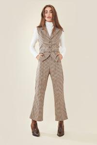 Beige Check Button Front Waist Coat