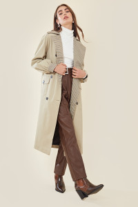 Camel Contrast Check Oversized Trench Coat